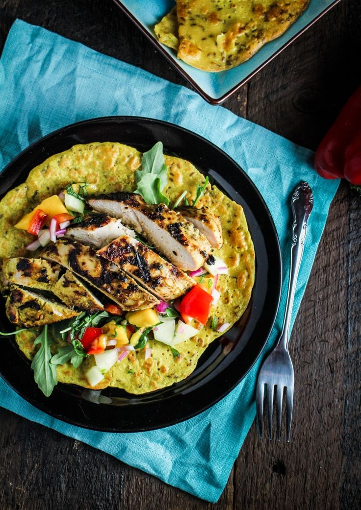 Chickpea Crepes with Grilled Curry Chicken and Mango Salsa / by Katie at the Kitchen Door