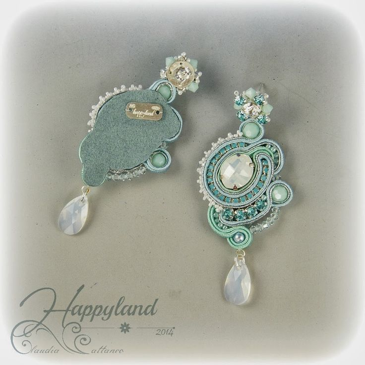Le gioie di Happyland, turquoise mint soutache and swarovski earrings