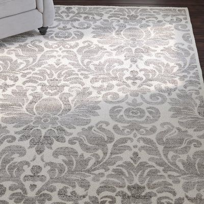 """House of Hampton High Wycombe Gray/Ivory Area Rug Rug Size: Round 6'7"""""""