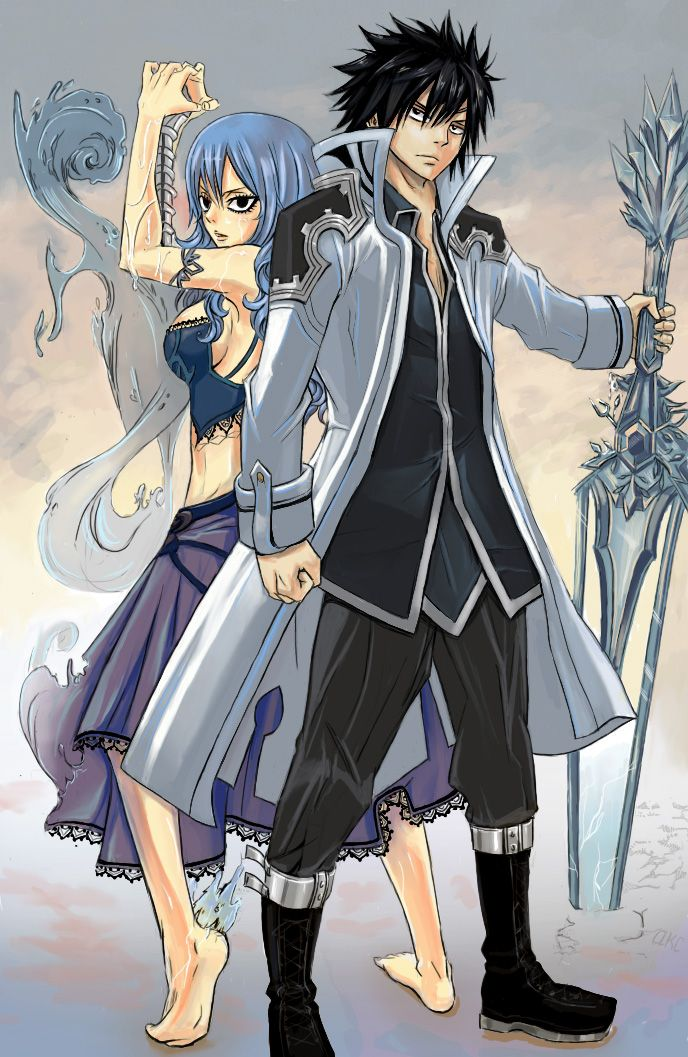 Cold and water attack by DoubleRagnarok.deviantart.com on @deviantART Juvia and Gray Fairy Tail