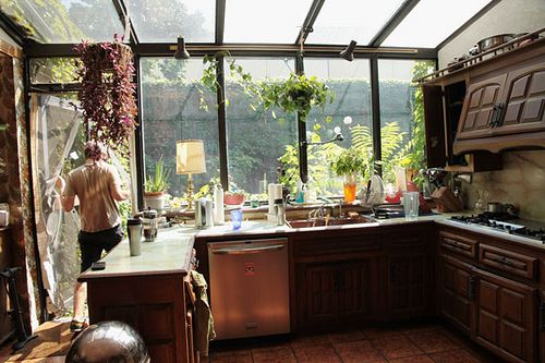 whoa. GLORIOUS KITCHEN. (minus cabinets) Greenhouse style effect... LOVE
