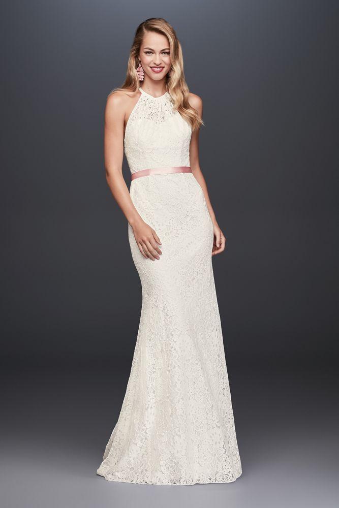 Fancy Illusion Lace Halter Sheath Petite Wedding Dress Ivory P