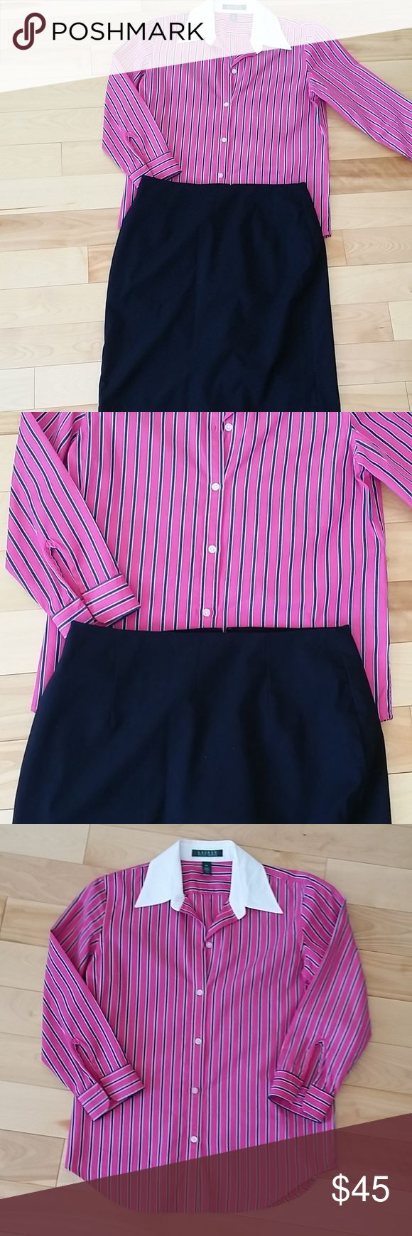 """Ralph Lauren Pink Stripe Shirt 3/4 Sleeve Womens Lauren by Ralph Lauren 3/4 Sleeve Shirt. Never used and in great condition.  The stripes are dark blue. Skirt is not included, but can be added to your order.  Size XS.  28"""" Chest, 26"""" Length 100% cotton. Ralph Lauren Tops Button Down Shirts"""