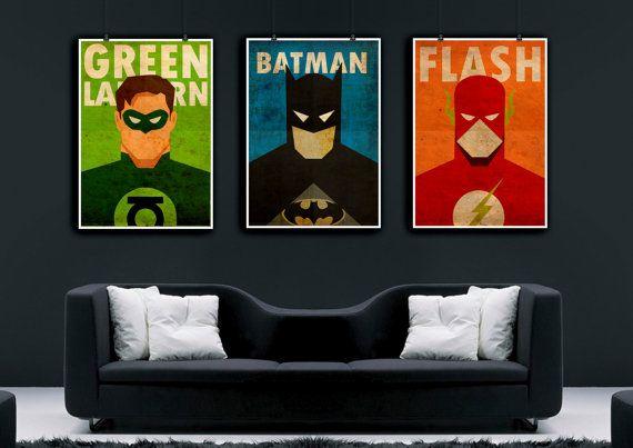 Superhero Poster Set, Flash Poster, Vintage Poster, Green Lantern, Batman  Print, Minimalist Art Poster, Gift Boyfriend, Home Decor, Office