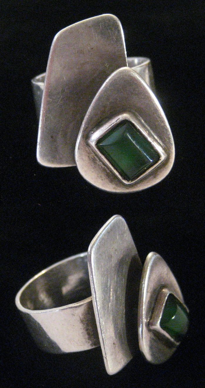 Ring | Sam Kramer.  Sterling silver and Chalcedony.  ca. 1960s  || Source ~ http://www.ebay.com/itm/Fine-Rare-Mid-Century-Modernist-Sterling-Chalcedony-Ring-Sam-Kramer-c1960s-/111206808734
