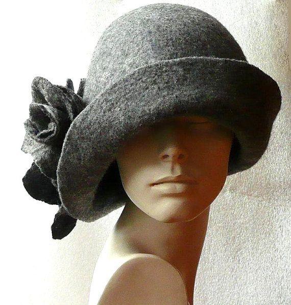 Grey Felt hat felted hat Women's hat Cloche hat by Feltpoint
