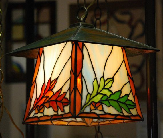 Oak Leaves and Acorns Stained Glass Lantern by DodgeGlassStudio