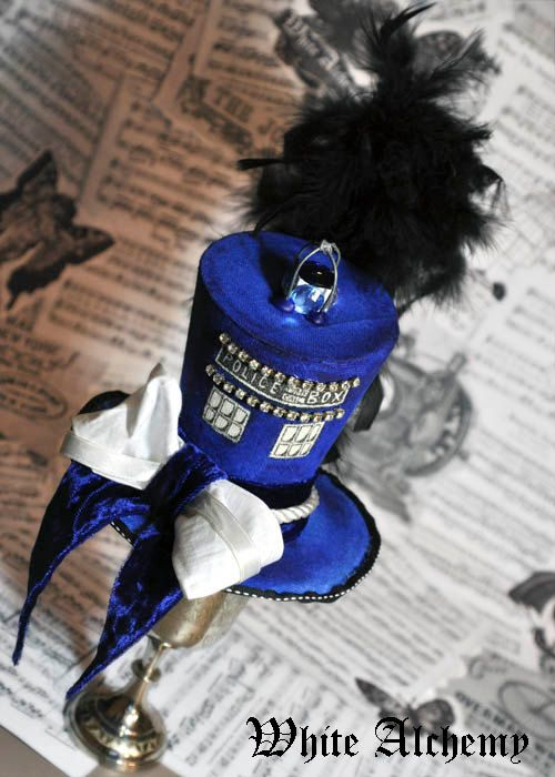 Couture TARDIS / Dr. Who inspired Steampunk / Edwardian -  Time Travel -  Tiny Top Hat / Facinator on Etsy, $122.00