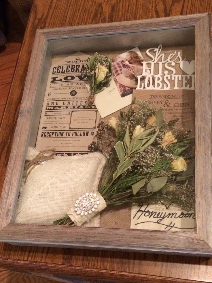 Rustic wedding shadow box
