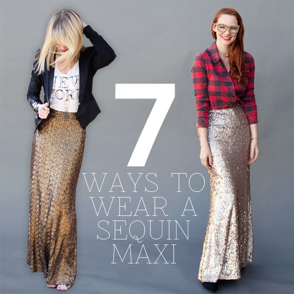 How To Wear a Sequin Maxi Skirt