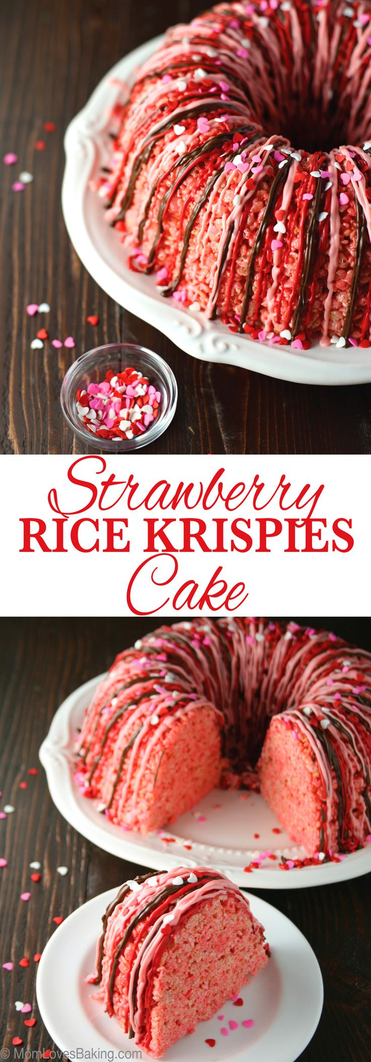 Strawberry flavored rice krispy treats are pressed into a Bundt pan to create a cute cake drizzled with chocolate.