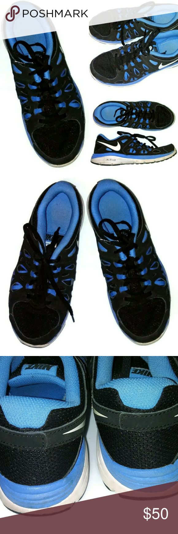 Nike Dual Fusion 2 Black Blue Running Shoes Preloved condition Nike Shoes Sneakers