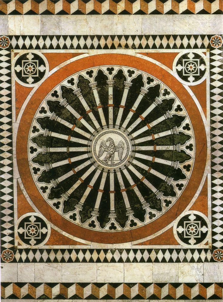 Pavimento del Duomo di Siena - Navata centrale - L'aquila imperiale (1374 ca. ma interamente rifatta nel '800). In questo riquadro è rappresentato un grande rosone di cattedrale con al centro l'Aquila imperiale, emblema del Sacro Romano Impero e della continuità di Siena col mondo romano.  Foto di Sailko su Wikimedia Commons; http://it.wikipedia.org/wiki/Pavimento_del_Duomo_di_Siena#mediaviewer/File:Pavimento_di_siena,_aquila_imperiale_01.jpg; #Siena #DuomoDiSiena #PavimentoDelDuomoDiSiena
