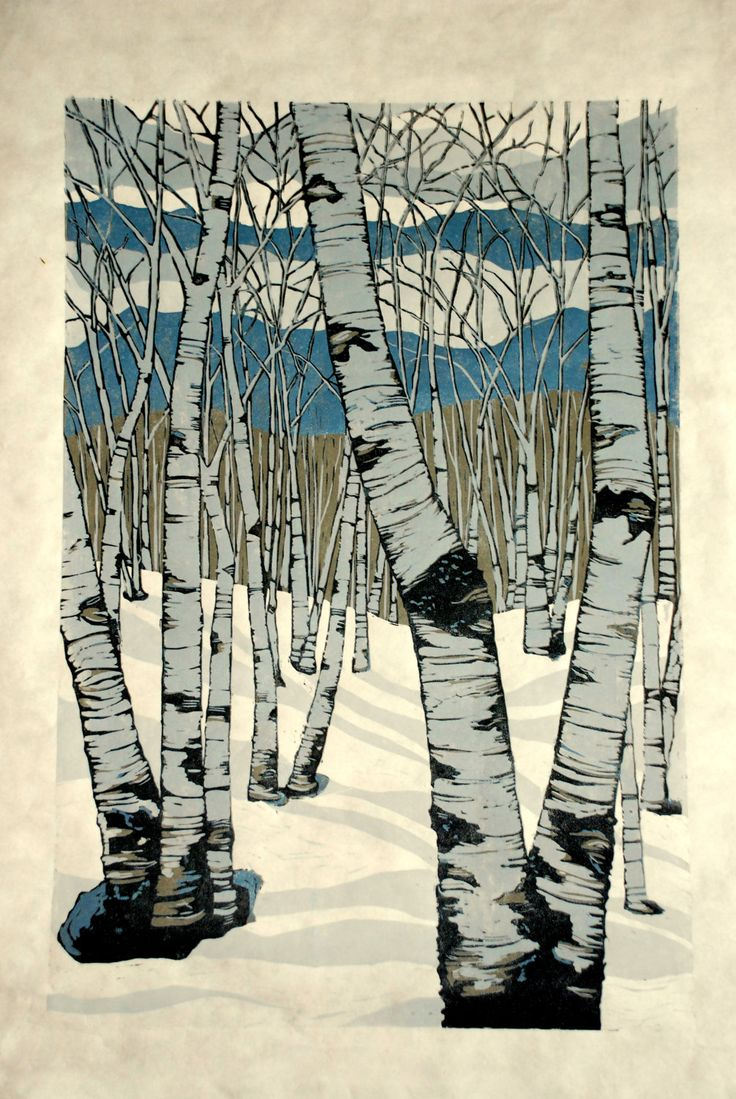 Northern Shadows, large relief woodcut. Lisa Van Meter