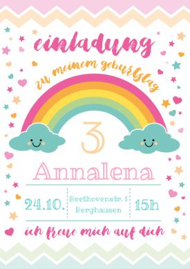 Happy Clouds | Süße Regenbogen-Einladungskarte zum 3. Geburtstag für Mädchen