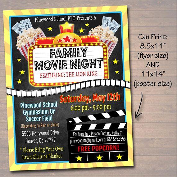 Editable Movie Night Flyer Printable Pta Pto Flyer School Church Benefit Fundraiser Event Poster Digital Cinema Party Printable Invitation Movie Night Flyer Movie Night Charity Work Ideas