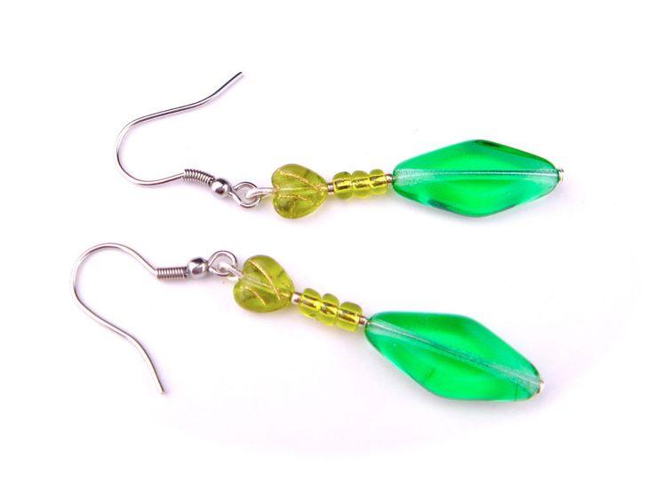 Vintage Earrings Czech Glass Silver Tone Hook Drop Dangle Green Heart Long #Unbranded #DropDangle