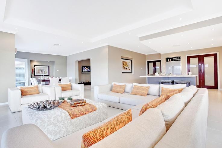 Living room in the Beach House by McDonald Jones Homes #familyroom #mcdonald jones #australia #design #luxuryhome