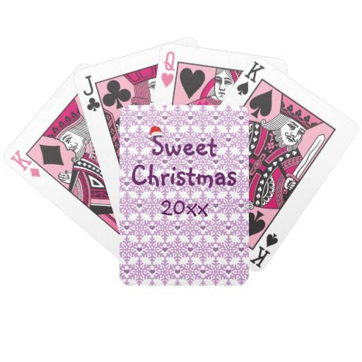 Snowflake heart pattern in purple-lavender color, Sweet Christmas / Bicycle Playing Cards - Custom date. Figures in pink color! Click on the item to purchase. You want it cheaper? Also check out this link for free coupon offers! https://www.zazzle.com/coupons?rf=238298069376789985&tc=pin