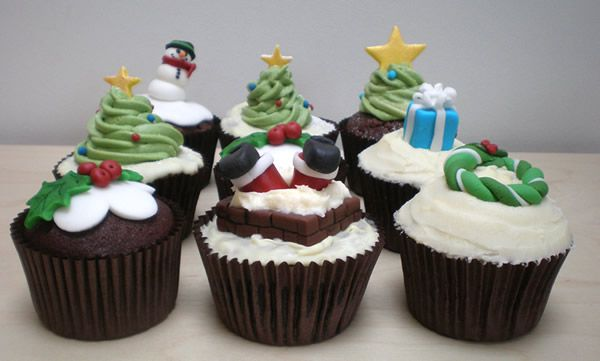 Christmas cupcake selection
