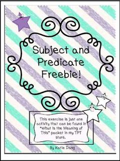 """FREE LANGUAGE ARTS LESSON - """"Subject and Predicate Freebie!"""" - Go to The Best of Teacher Entrepreneurs for this and hundreds of free lessons. 3rd - 5th Grade  #FreeLesson  #LanguageArts http://www.thebestofteacherentrepreneurs.com/2015/12/free-language-arts-lesson-subject-and.html"""