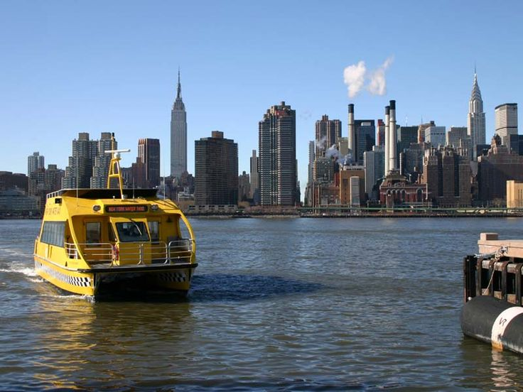 new york: water taxi approaching hunters point, queens
