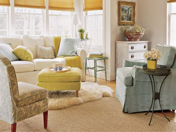 Inexpensive Sweet Living Room Decorating Ideas With White Sofa And Lime Green Fabric Covered Coffee Table