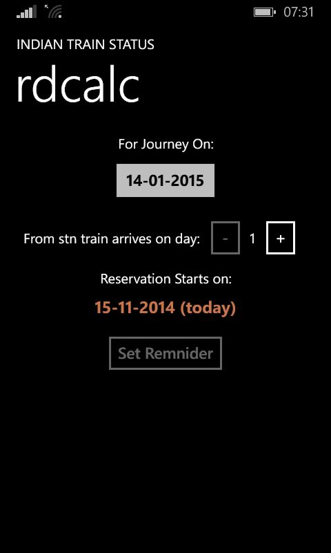 Reservation Date Calc featuring in Train Status for Windows Phone v2.7