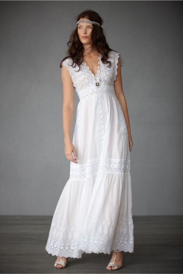Casual white cotton wedding dress