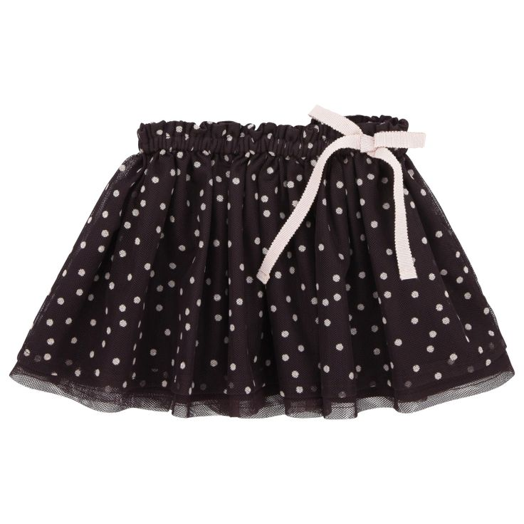 Lili Gaufrette - Aubergine and light pink spotted skirt made of polyester tulle.