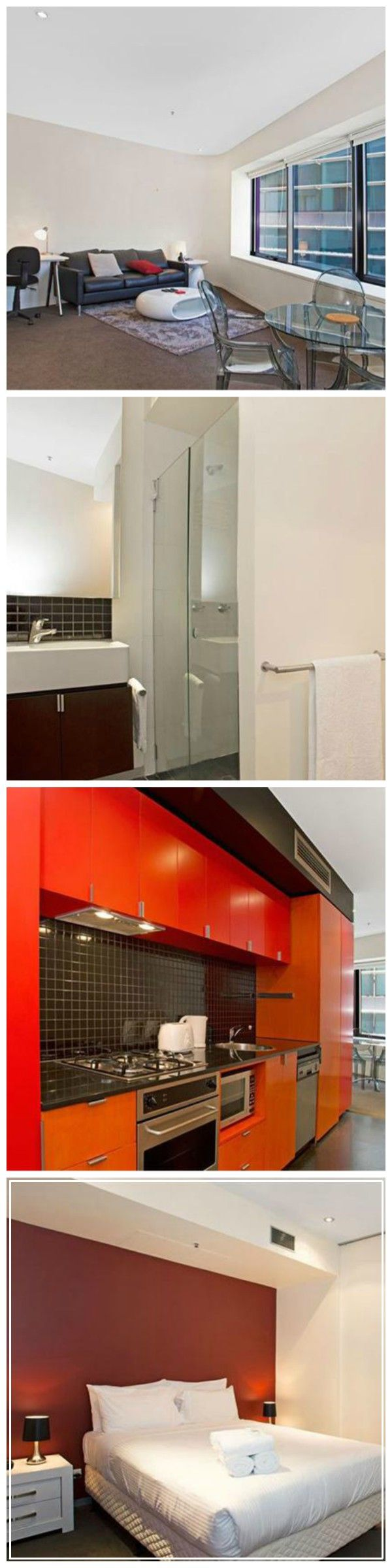 Swanston Street Apartment provides serviced accommodation in the centre of Melbourne, a three minute walk away from Melbourne Central train station. The property is also a two minute walk from the nearest tram stop. The one bedroom apartment features a double bed, one bathroom and a fully equipped kitchen, which includes a gas oven, a microwave and a dishwasher. In the living area there is a HD flat screen TV, and there is free wireless internet provided throughout the stay.