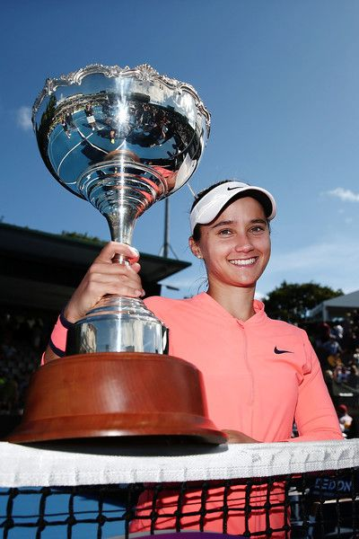 Lauren Davis Photos Photos - Lauren Davis of USA poses with the trophy after winning her final match against Ana Konjuh of Croatia on day six of the ASB Classic on January 7, 2017 in Auckland, New Zealand. - ASB Classic - Day 6