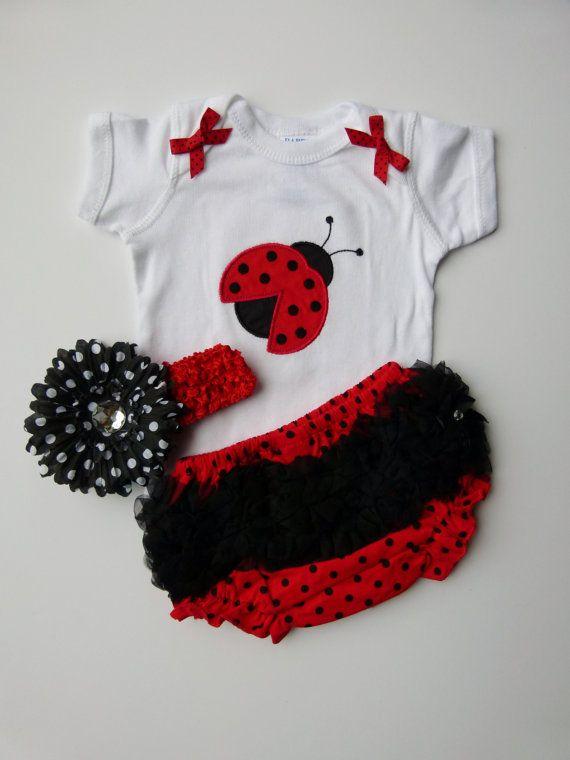 Baby Girl Onesie With Monogram Ruffle Butt Bloomers Ladybug Red and Black Polka Dot Gift Set via Etsy