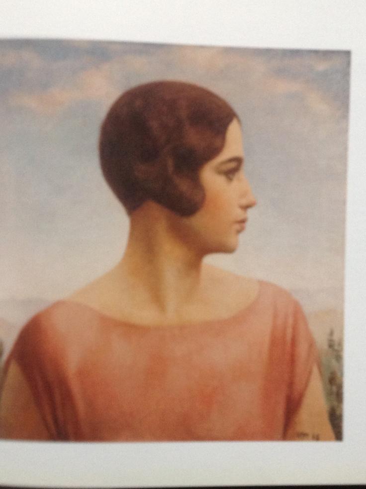 Ubaldo Oppi Ritratto della moglie 1928 olio su tela cm 49x44