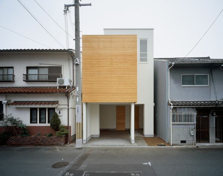 Home & Apartment:Minimalist Japanese House Home Residence Front View Interior Design Ideas White Oak Wood Wall Garage Balcon Bay Window Conc...