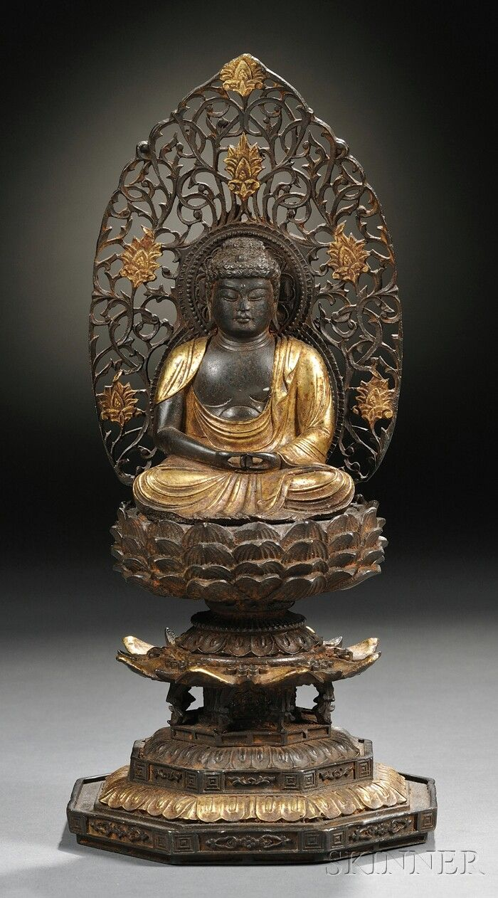 Parcel-gilt Bronze Buddha, China, seated in dhyanasana pose on a multi-galleried stand, the Buddha with a halo in openwork scrolls to his back, ht. 10 in.