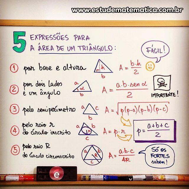 Mapa Mental: triangulos formulas #matematica