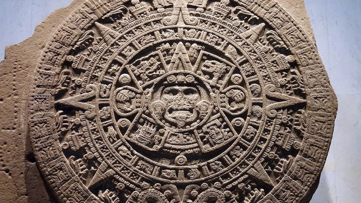 The Sun Stone (or The Calendar Stone), Aztec, reign of Moctezuma II (1502-20), discovered in 1790 at the southeastern edge of the Plaza Mayor (Zocalo) in Mexico City, stone (unfinished), 358 cm diameter x 98 cm depth (Museo Nacional de Antropología)