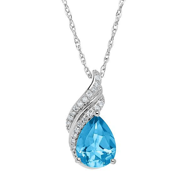 Blue Topaz & Diamond Pendant in Sterling Silver
