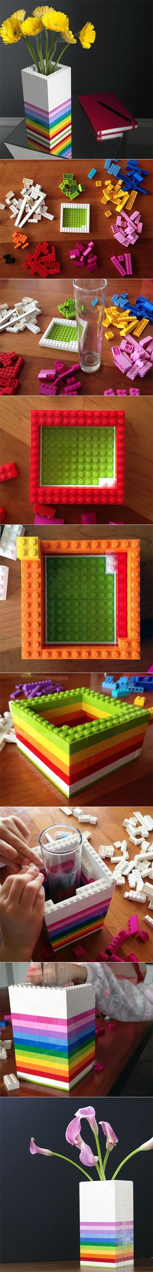 DIY Lego Vase....I don't think it has to be this complicated! Haha! But the idea is cute: