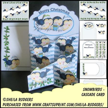 ascade Card Snowbirds on Craftsuprint designed by Sheila Rodgers - This kit contains 6 printable pages