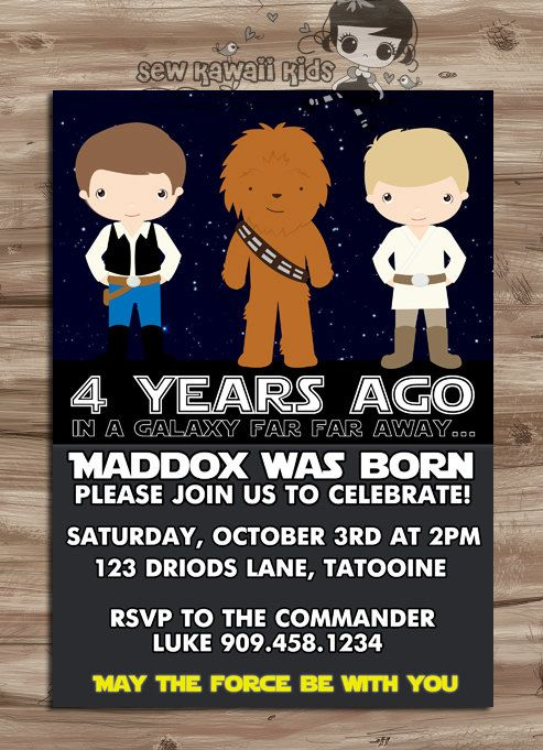 Star Wars downloadable birthday party invitations by Kawaii Kids Designs
