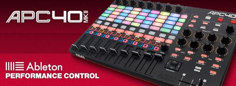 Akai APC40 MKII ABLETON LIVE CONTROLLER    A MIDI controller designed from the ground up to match Ableton's interface, the APC40 MKII adds RGB-illuminated pads, robust faders, 5 GB of sounds and more.