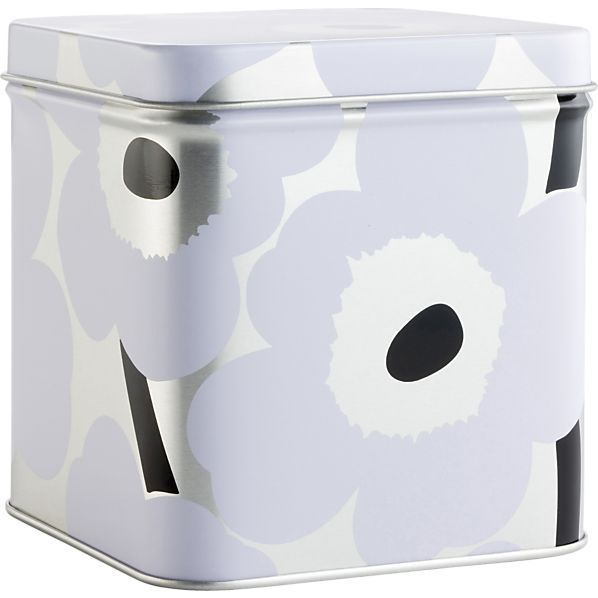 Marimekko Unikko Short White and Silver Tin Box