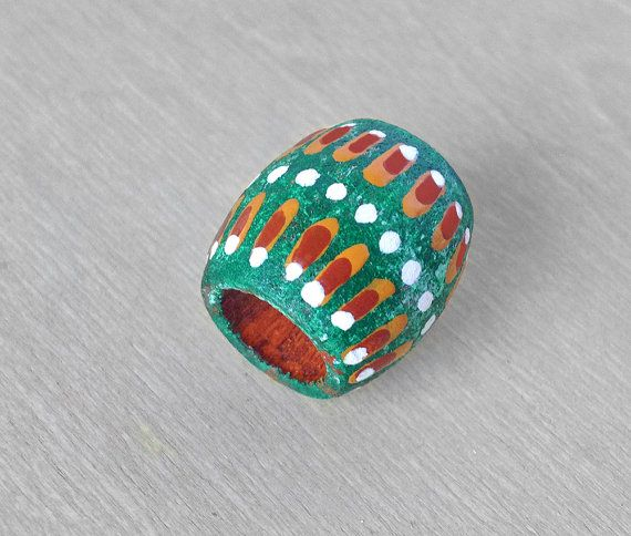 Green Dreadlock Bead  Green Tribal Hair Bead  by OneUrbanTribe