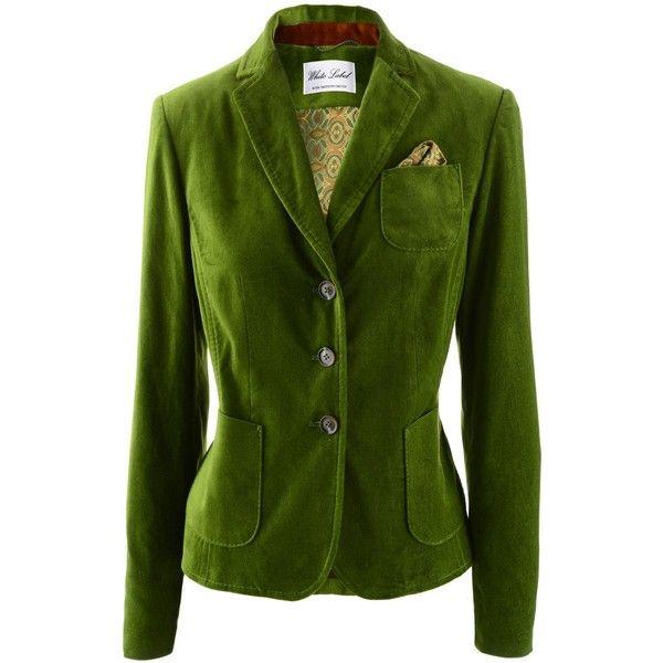 Eickhoff Moss Green Velvet Blazer found on Polyvore featuring polyvore, women's fashion, clothing, outerwear, jackets, blazers, blazer, green velvet blazer, green velvet jacket and green blazer jacket