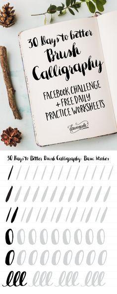 30 dias para melhor pincel de caligrafia Facebook desafio.  Um novo vídeo e planilha de treinos livres todos os dias durante 30 dias!     dawnnicoledesigns