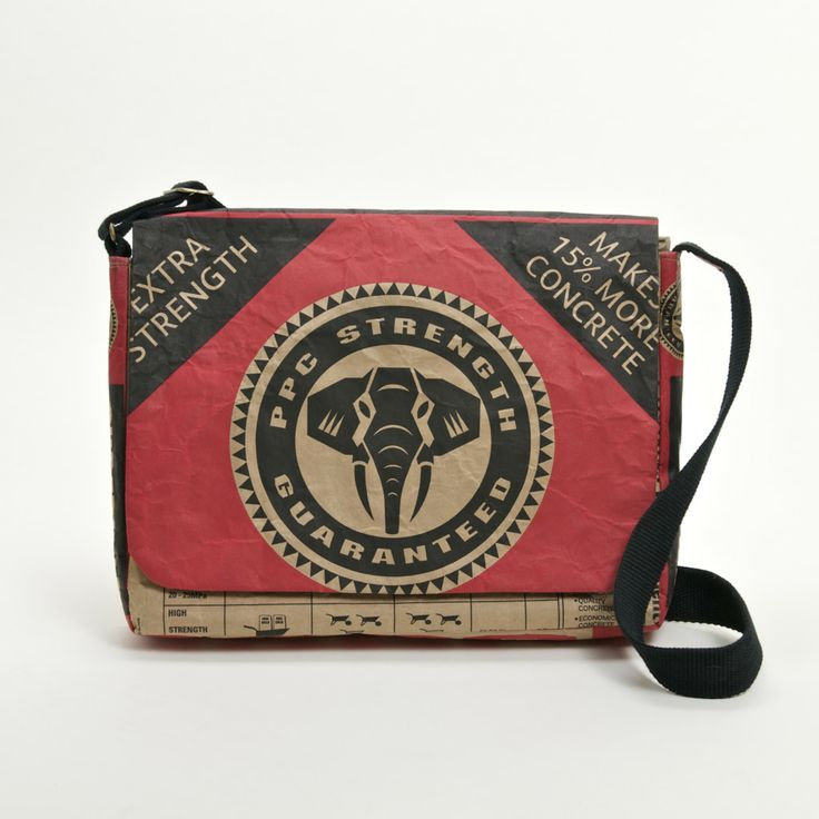 """PPC Cement Laptop Bag  - 13""""  15"""" Surebuild Made from Cement bag packaging fused with cotton fabric  #projectza ProjectZA.com"""