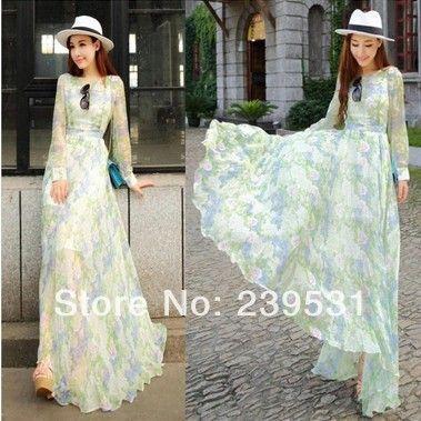 Chiffon jurk lange mouwen