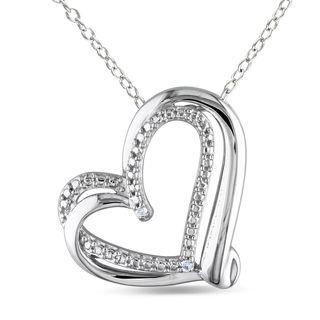 Miadora Sterling Silver Diamond Heart Necklace